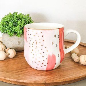 Abstract Watercolour and Gold Mug - Teal and Pink